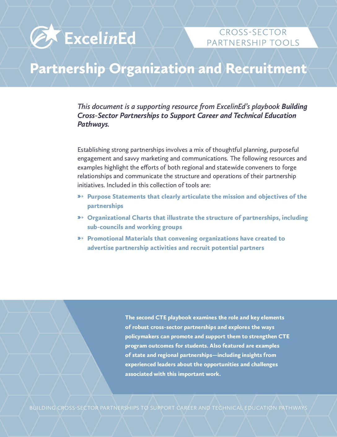 Playbook 2: Cross-Sector Partnership Tools &#8211; Partnership Organization and Recruitment &#8211; May 2018>									 									</a> 									<h5><a href=