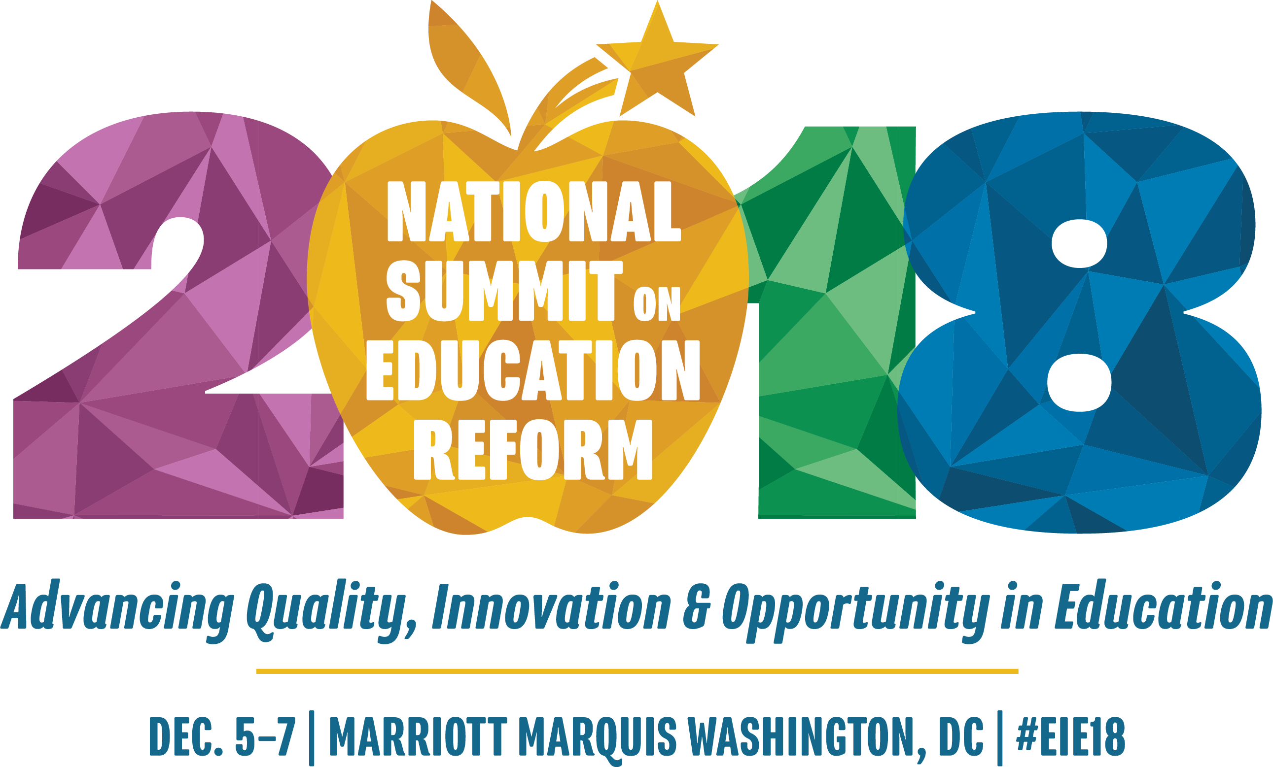 2018 National Summit on Education Reform Logo with colored numbers, tagline and dateline