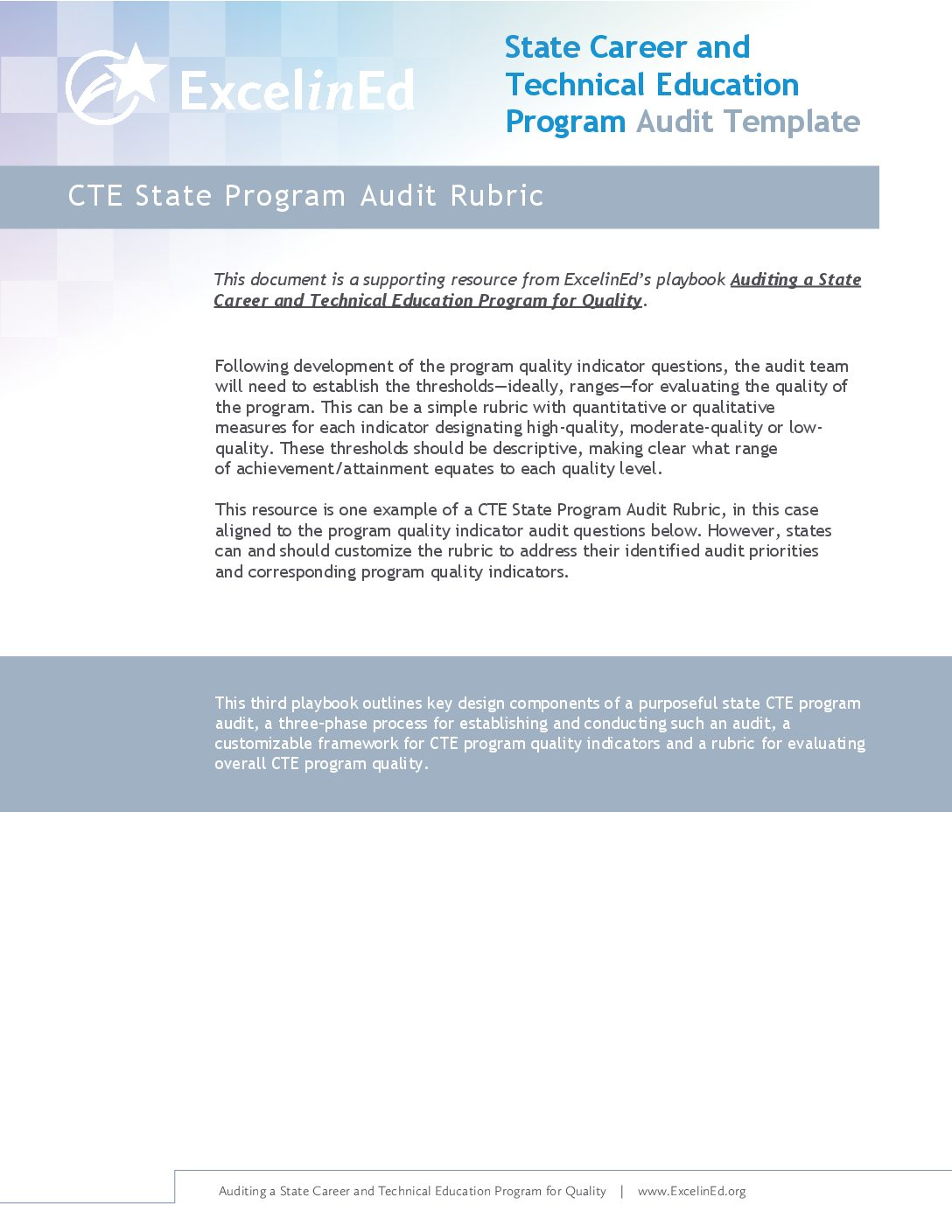 Playbook 3: CTE Audit Template &#8211; Audit Rubric>									 									</a> 									<a href=
