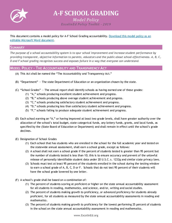 A-F School Grading Model Policy – 2019> </a> <a href=