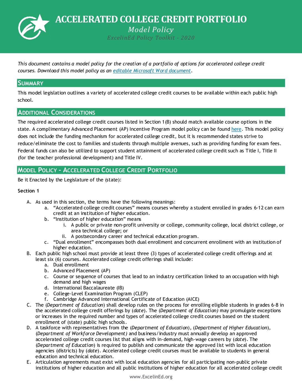 Accelerated College Credit Portfolio Model Policy – 2020> </a> <a href=